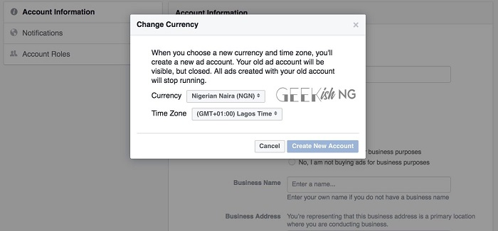 How To Change Facebook Ad Account Currency To Naira